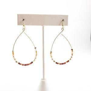 LOFT Earrings Teardrop Hoops Petite Beads